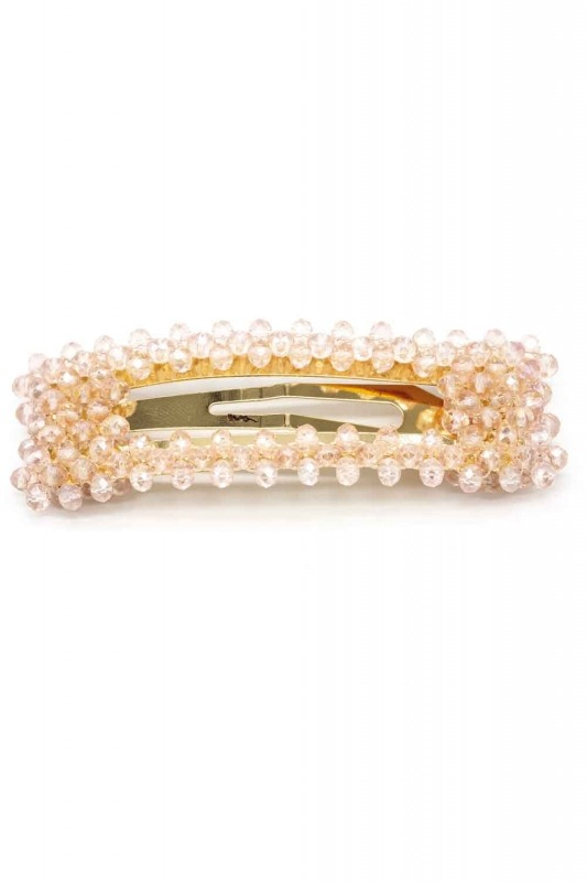 Bead Detailed Rectangle Hair Clips (Pink)