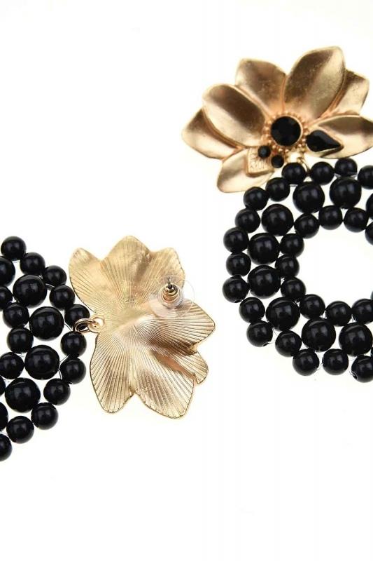 Beaded Big Earrings (Black)