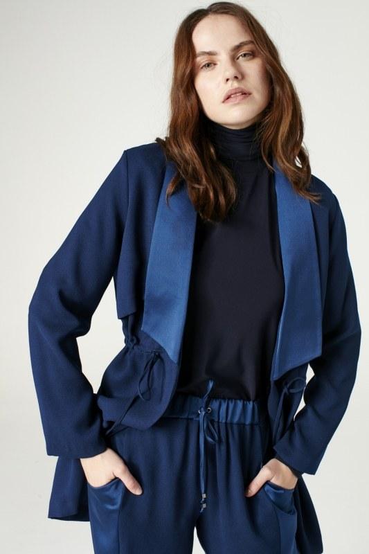 Bel Bağcıklı Ceket (Indigo)