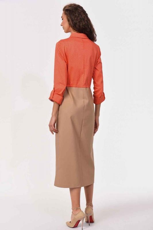 Bel Bağcıklı Gömlek Elbise (Bej/Mercan)