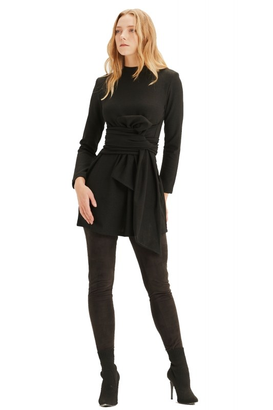 Waist Belted Tunic (Black)