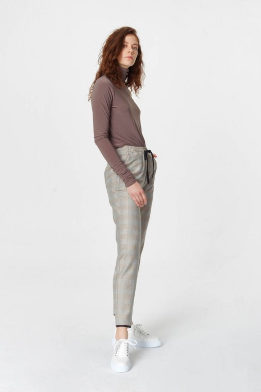Laced Waist Plaid Trousers (Beige)