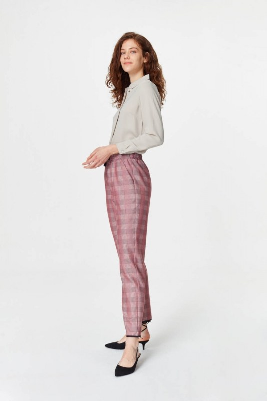 Laced Waist Plaid Trousers (Claret Red)
