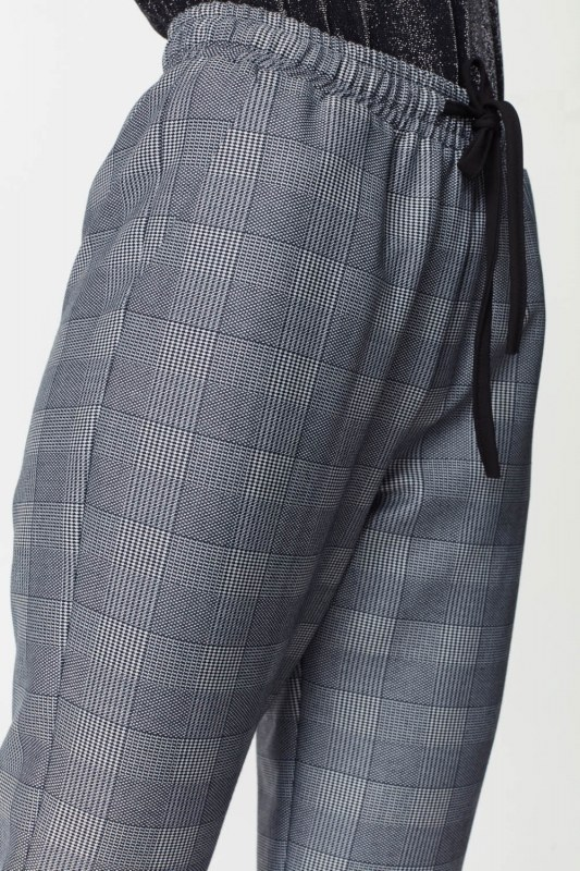 Laced Waist Plaid Trousers (Navy Blue)