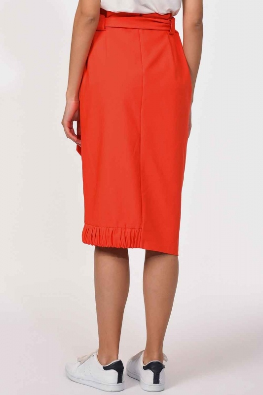 Waist Tied Pocket Detail Skirt (Orange-Red)