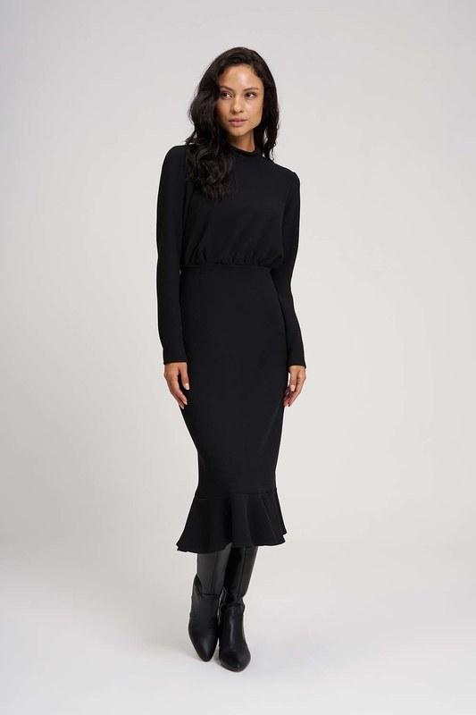 Beli Büzgülü Elbise (Siyah)