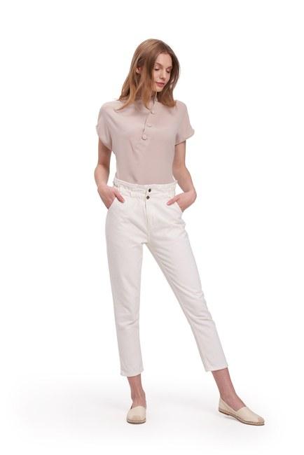 Beli Fırfırlı Pantolon (Beyaz) - Thumbnail