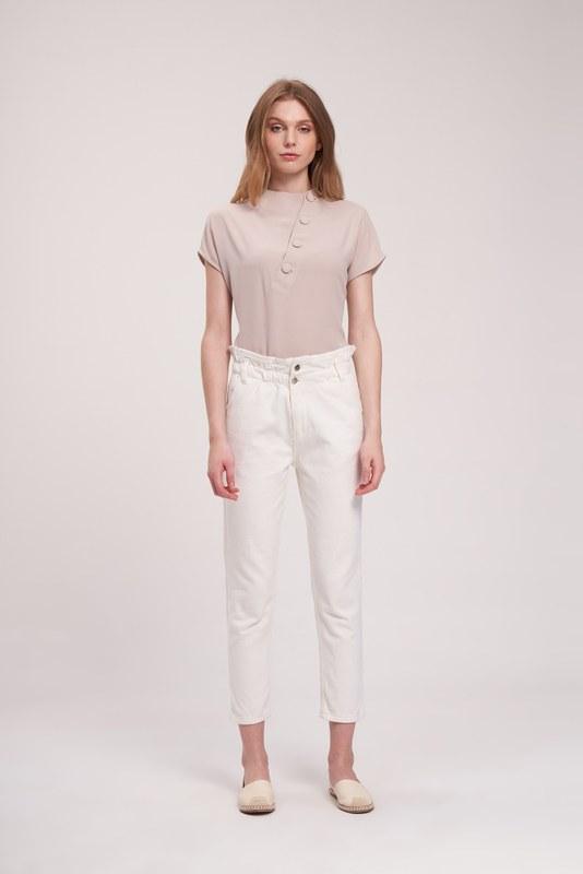 Beli Fırfırlı Pantolon (Beyaz)