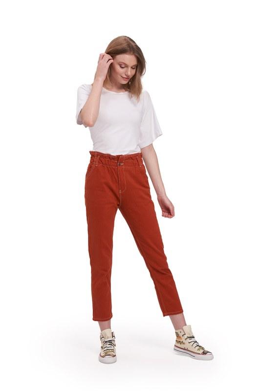 Beli Fırfırlı Pantolon (Kiremit)