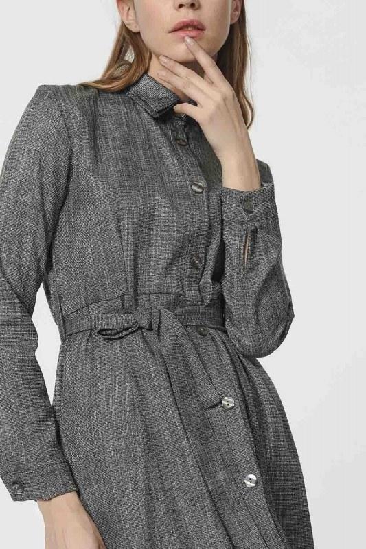 Belt Detailed Dress (Grey)