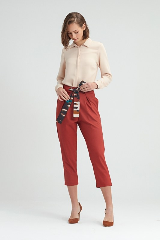 Waistbelted Trousers (Brick Red)