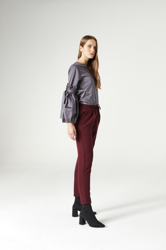 Elasticated Waist Cuffed Trousers (Claret Red)