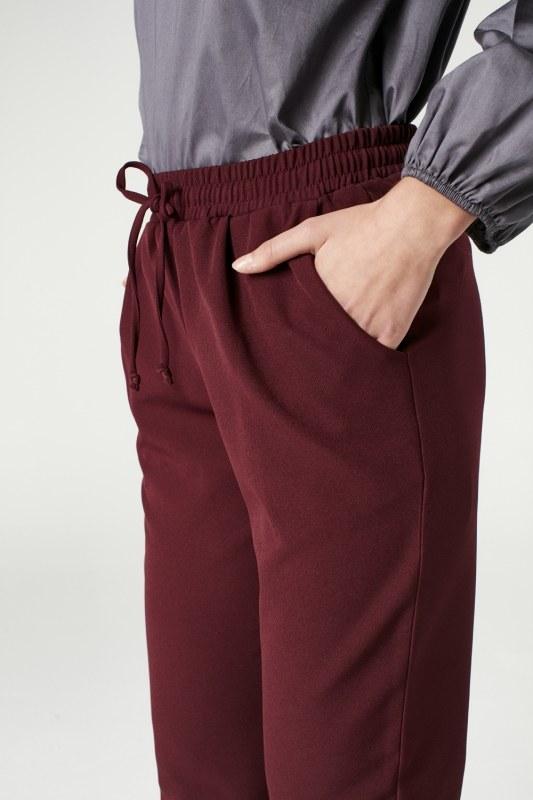 Beli Lastikli Duble Paça Pantolon (Bordo)