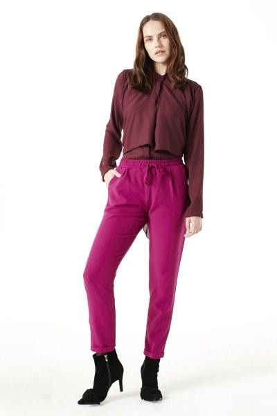 Beli Lastikli Duble Paça Pantolon (Fuşya) - Thumbnail