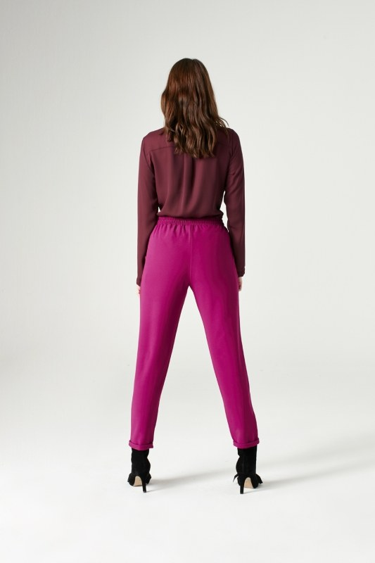 Elasticated Waist Cuffed Trousers (Fuchsia)