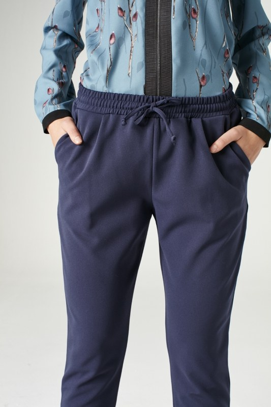 Elasticated Waist Cuffed Trousers (Blue)