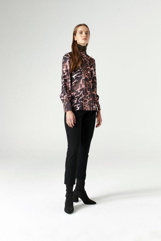 Elasticated Waist Cuffed Trousers (Black)