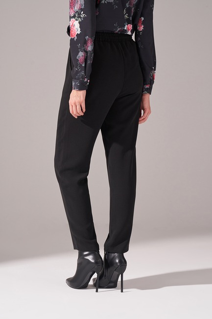 Beli Lastikli Krep Pantolon (Siyah) - Thumbnail