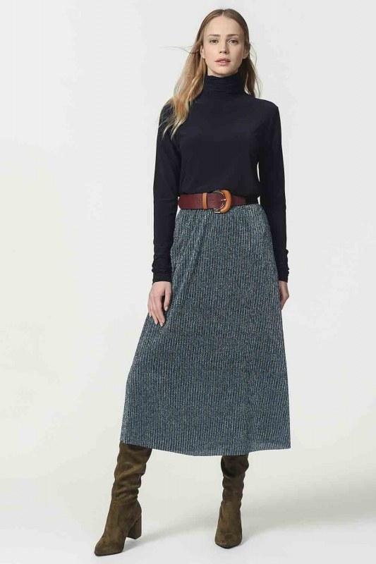 Glittered Skirt With Elastic Waist (Blue)