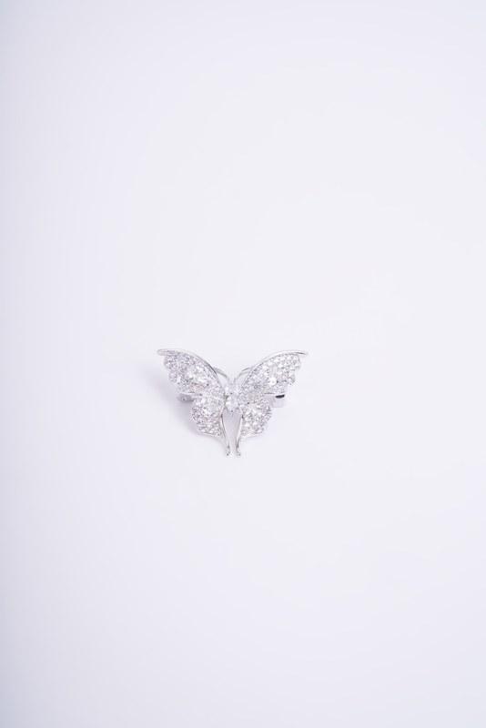 Beyaz Taşlı Kelebek Broş