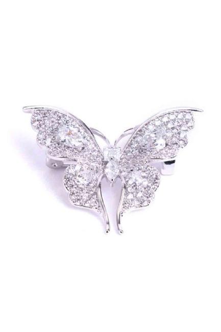 Beyaz Taşlı Kelebek Broş - Thumbnail