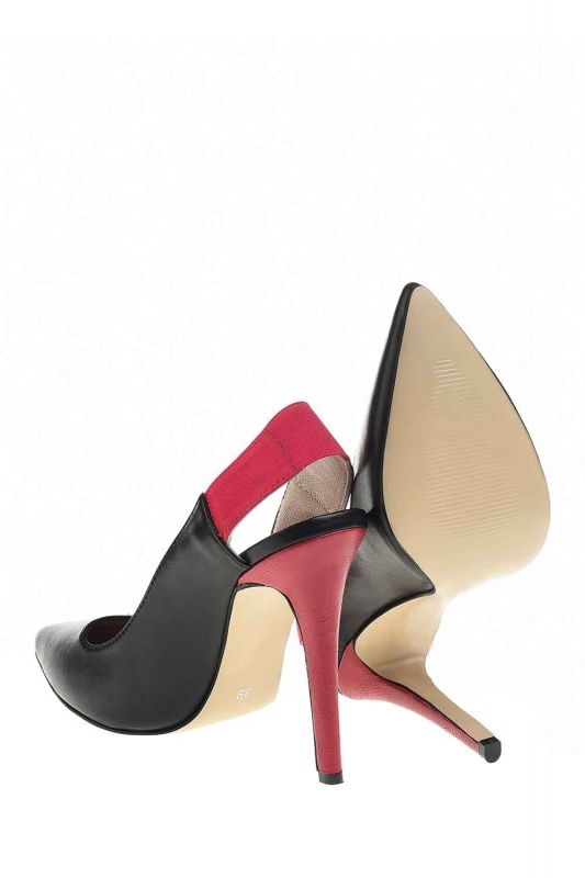 Bi-Colored Leather Heels (Black)