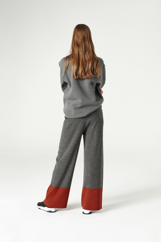 Bicolored Tricot Trousers (Grey)