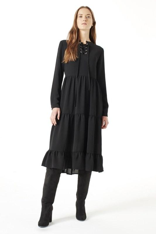 فستان منقوش ( أسود )