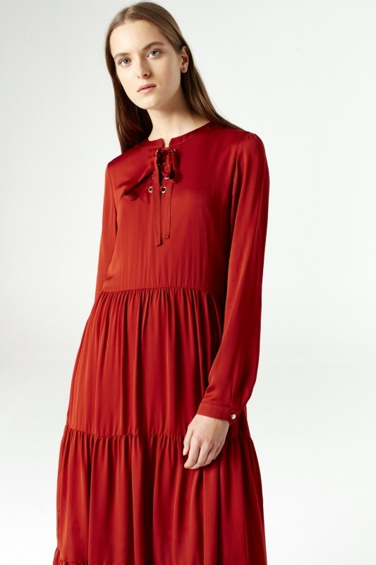 Bird Eye Detailed Dress (Brick Red)