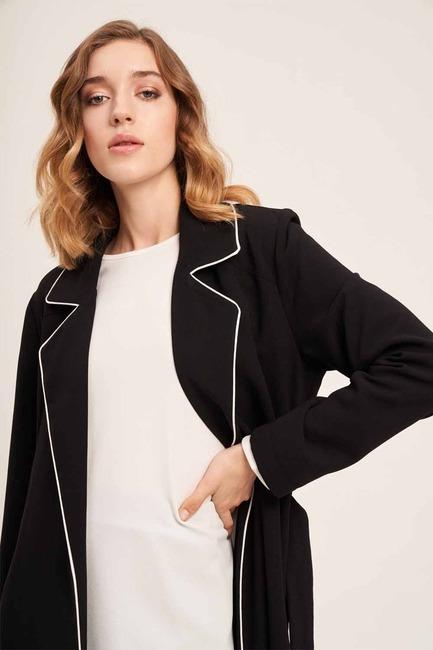 Biye Detaylı Uzun Krep Ceket (Siyah) - Thumbnail