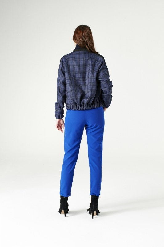 Plaid Bomber Jacket (Indigo)