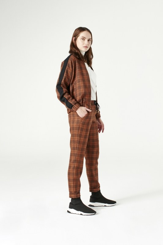 Plaid Bomber Jacket (Brown)