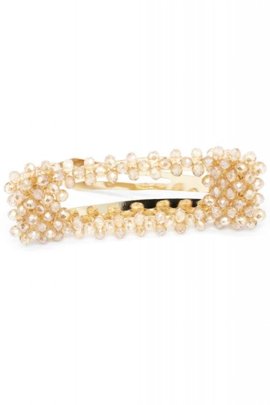 Bead Detailed Rectangle Hair Clips (Cream)