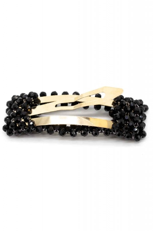 Bead Detailed Rectangle Hair Clips (Black)