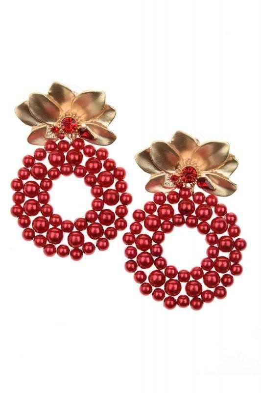 Beaded Big Earrings (Red)
