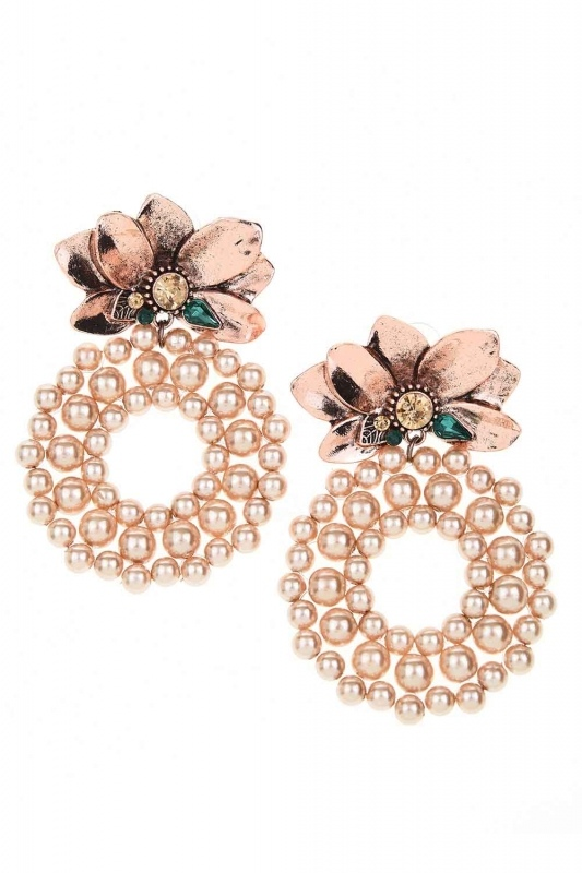 Beaded Big Earrings (Rose)