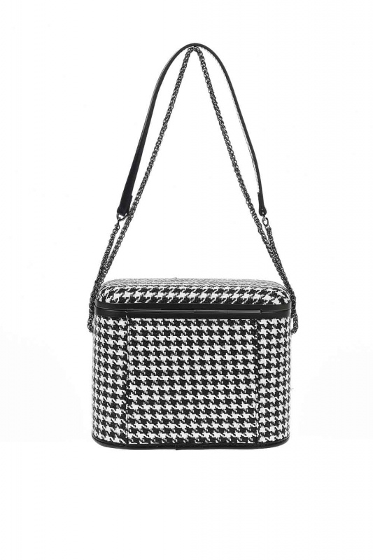 حقيبة كتف على شكل مربع ، مربعة الشكل (أسود)
