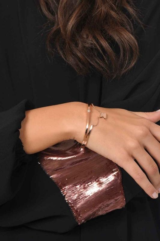 Butterfly Detailed Steel Bracelet (St)