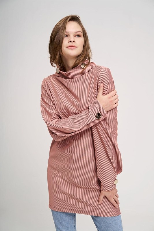 Big Buttoned Sweatshirt (Rose)