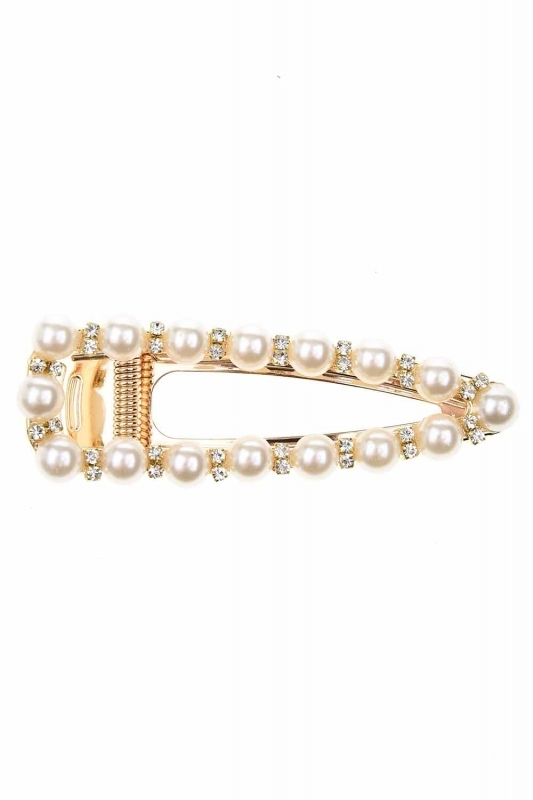 Pearl Detail Snap Buttons Hair Clips (St)