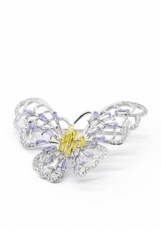Büyük Kelebek Broş (Gri)