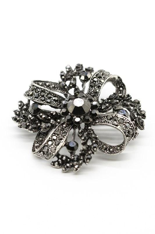 Büyük Metalik Broş (Siyah)