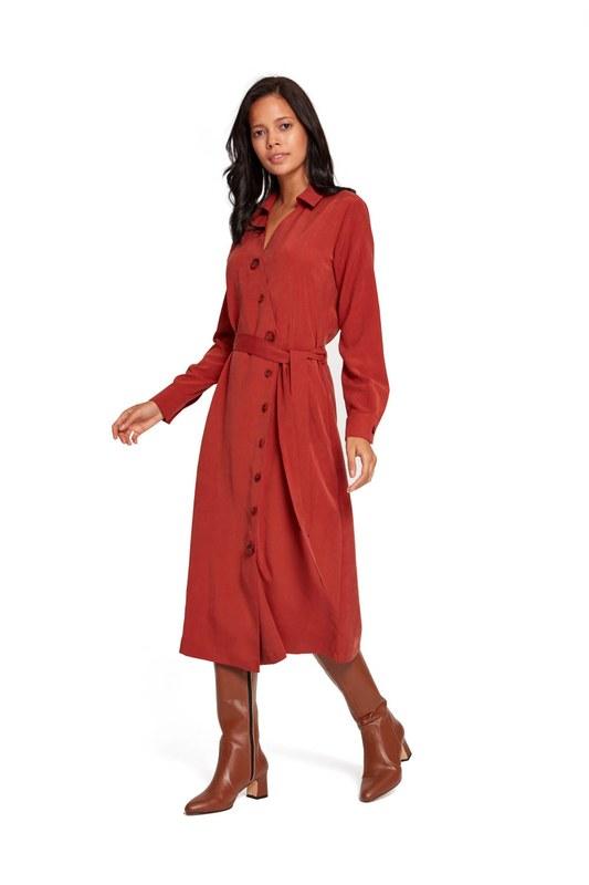 فستان بنمط متقاطع (قرميد احمر)