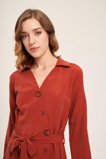 Çapraz Düğmeli Elbise (Kiremit) - Thumbnail