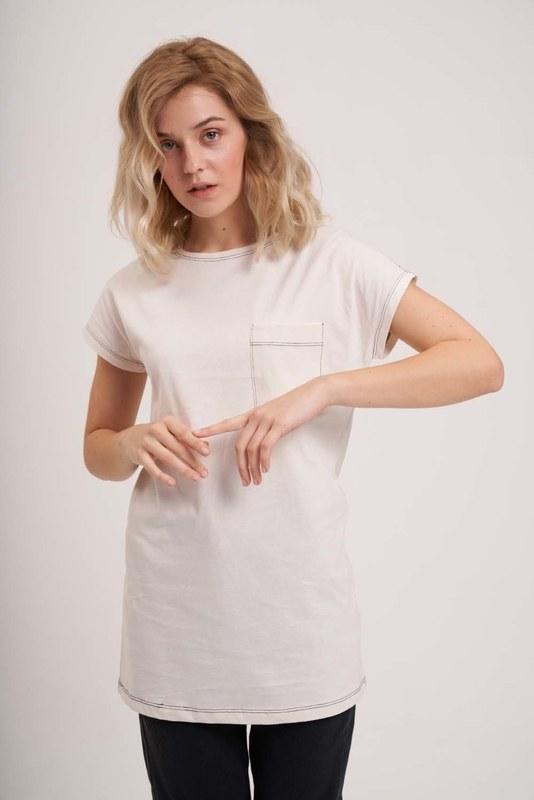 Cep Detaylı Basic T-Shirt (Ekru)
