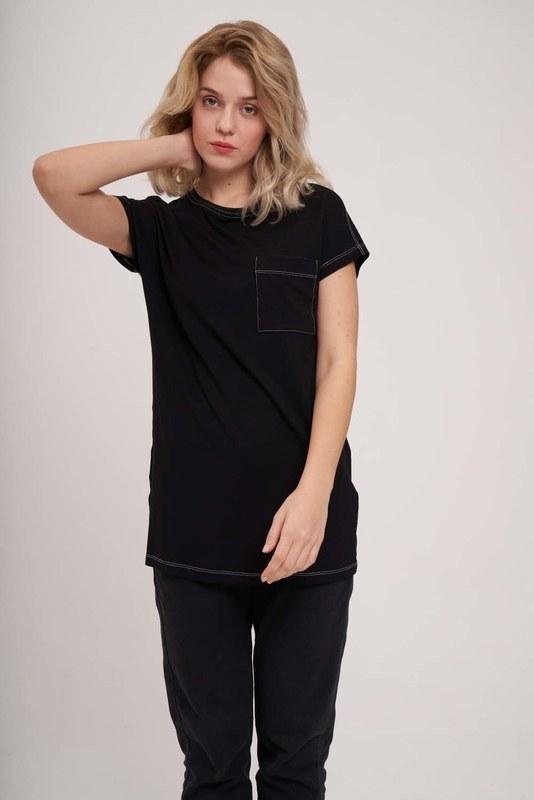 Cep Detaylı Basic T-Shirt (Siyah)