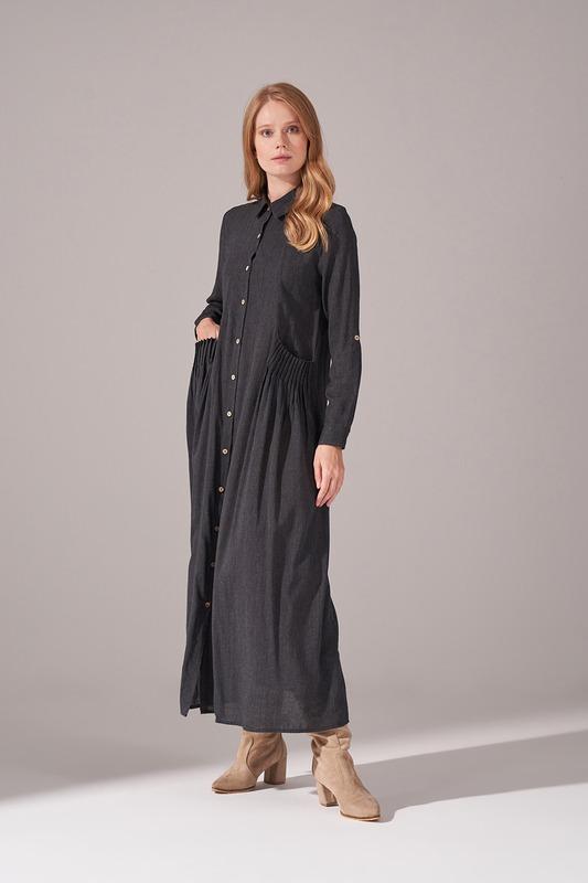 Cepleri Nervur Dikişli Elbise (Siyah)