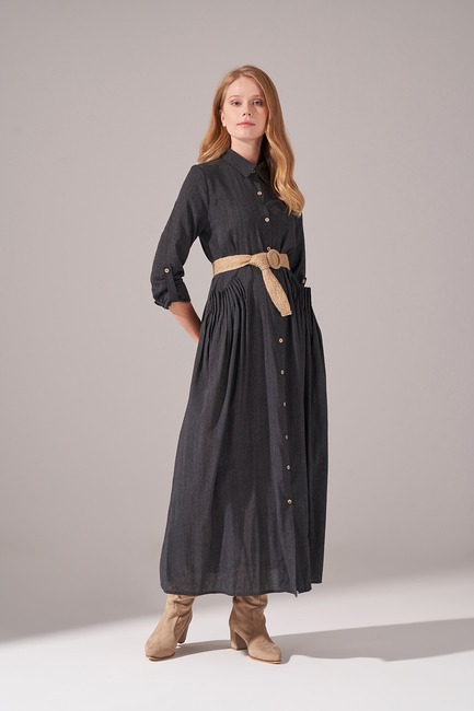 Cepleri Nervur Dikişli Elbise (Siyah) - Thumbnail