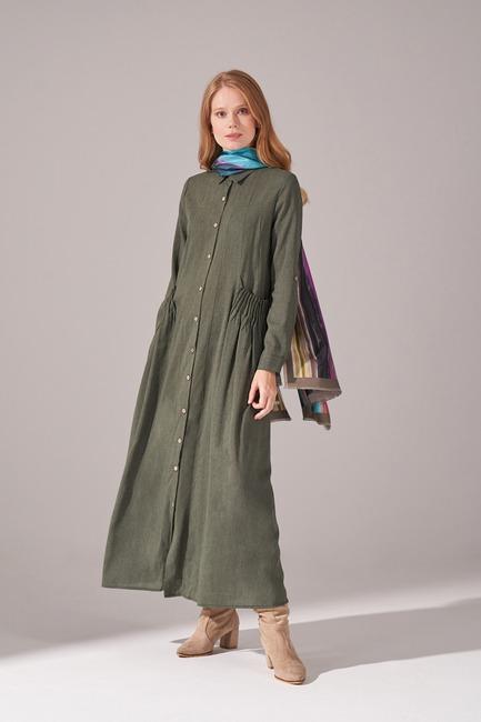Cepleri Nervur Dikişli Elbise (Yeşil) - Thumbnail