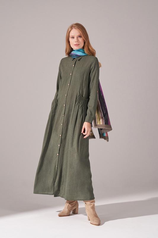 Cepleri Nervur Dikişli Elbise (Yeşil)